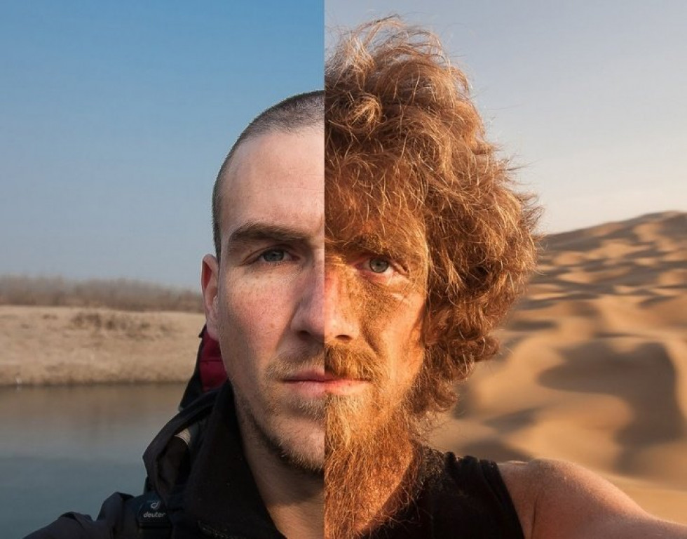 Знимок людини до і після її річної пішої подорожі по Китаю